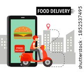online food order and food...   Shutterstock .eps vector #1852537495