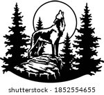 wolf howls at the moon   forest ... | Shutterstock .eps vector #1852554655