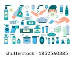 hygiene doodle set. collection... | Shutterstock .eps vector #1852560385
