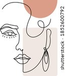 Woman Face Line Art. Abstract...