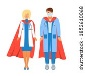 doctors as superheroes in red...   Shutterstock .eps vector #1852610068