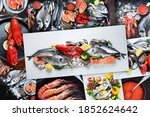 Collage Of Fresh Fish And...