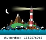 lighthouse night landscape with ... | Shutterstock .eps vector #1852676068
