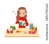 woman wrapping pile of presents ... | Shutterstock .eps vector #1852705162