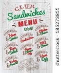 sandwiches menu the names  ham... | Shutterstock . vector #185273855