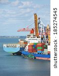 container stack and ship under... | Shutterstock . vector #185274545