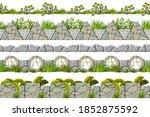 set of seamless border old gray ...   Shutterstock .eps vector #1852875592