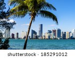 miami downtown skyline in... | Shutterstock . vector #185291012