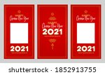 vector set with cards  social... | Shutterstock .eps vector #1852913755