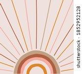 boho magic rainbow sun and rays ... | Shutterstock .eps vector #1852952128