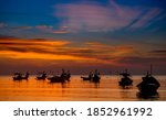 Silhouette Fishery Boats In The ...