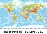 world map physical topographic  ... | Shutterstock . vector #1852967812