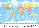 world map vintage political   ... | Shutterstock . vector #1852967842