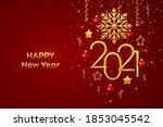 happy new 2021 year. hanging... | Shutterstock .eps vector #1853045542