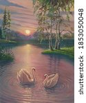 Sunset Oil Painting Landscape...