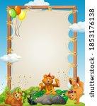 canvas wooden frame template... | Shutterstock .eps vector #1853176138