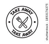 take away badge. vector linear... | Shutterstock .eps vector #1853176375