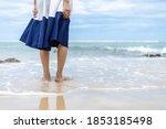 Woman Barefoot Walking On...