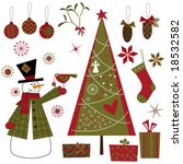 Christmas elements set - stock vector
