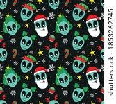 cute alien head and christmas... | Shutterstock .eps vector #1853262745