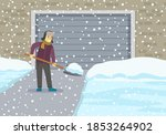 young man with shovel cleaning... | Shutterstock .eps vector #1853264902