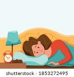 Sleepy Awake Woman In Bed...
