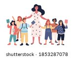 group of joyful multiethnic... | Shutterstock .eps vector #1853287078