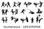 woman beating man stick figure... | Shutterstock .eps vector #1853390908