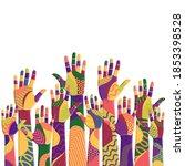 colorful up hands. volunteers....   Shutterstock .eps vector #1853398528