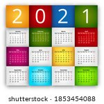2021 calendar colored blocks... | Shutterstock .eps vector #1853454088