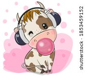 cute cartoon bull with... | Shutterstock .eps vector #1853459152