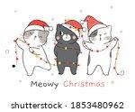 draw vector character funny cat ... | Shutterstock .eps vector #1853480962