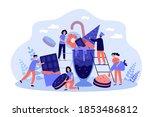 happy tiny women and men among... | Shutterstock .eps vector #1853486812