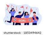 active soccer fans holding... | Shutterstock .eps vector #1853494642
