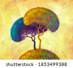 Colorful Abstract  Trees. Hand...