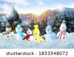 Cute Toy Snowmen In Winter...