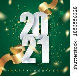 2021 green happy new year... | Shutterstock .eps vector #1853556328