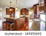 beautiful kitchen room with oak ... | Shutterstock . vector #185355692