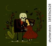 Young Cute Girl And Skeleton...