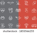 20 charity vector icons set | Shutterstock .eps vector #1853566255