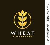 gold grain flat wheat logo... | Shutterstock .eps vector #1853592742