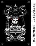 card skull death with horns.... | Shutterstock . vector #1853646868