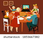 family having a holiday turkey... | Shutterstock .eps vector #1853667382