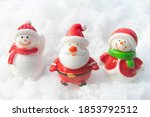santa claus and snowman on snow ... | Shutterstock . vector #1853792512