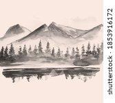 Hand Drawn  Vintage  Mountain...