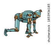 retro steampunk robot at the...   Shutterstock .eps vector #1853936185
