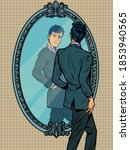 a man in a suit looks in the... | Shutterstock .eps vector #1853940565