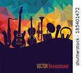 colorful music background. | Shutterstock .eps vector #185401472
