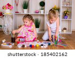 happy sisters drawing time at... | Shutterstock . vector #185402162
