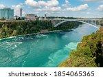 niagara falls rainbow bridge ... | Shutterstock . vector #1854065365